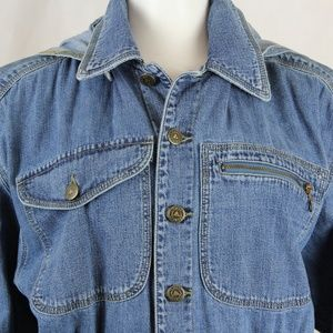 Vtg Lizwear Denim Jacket w/removable Hood Cropped